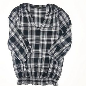 The Limited Plaid Peasant Blouse
